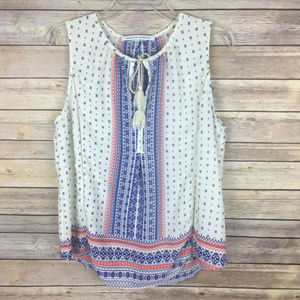 💕 Collective Concepts Large White Red Blue Blouse